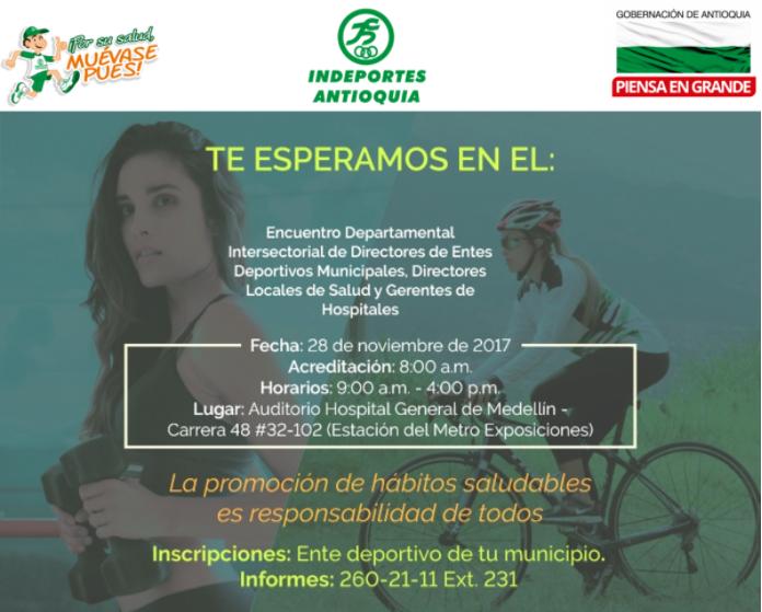 encuentro intersectorial en pro de los hábitos de vida saludables para Antioquia. Indeportes